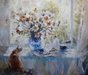 Натюрморт с кошкой. птицы. Гости. Холст, масло, 2014 год