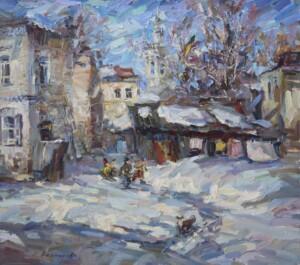 Деревенский пейзаж. Зима. Снег. Санки.
