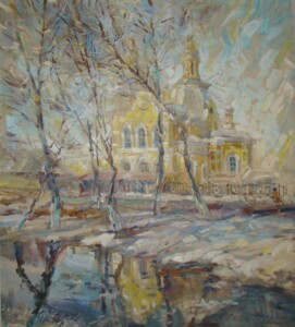 Минусинск, Спасский собор. Холст, масло, 2009 год