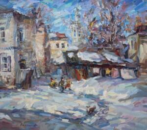 Мартовский день, Минусинск, холст, картина маслом