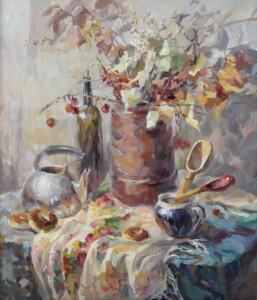 Баранки, осенние листья, Деревенский натюрморт, холст, масло